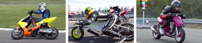 Des compétitions scooter en vitesse, endurance et runs chronométrés...