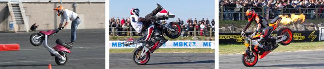 Les photos de stunt et d'acrobatie moto en scooter...